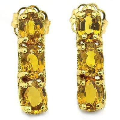 CHARMING 1.38 CT GENUINE YELLOW SAPPHIRE 10K SOLID YELLOW GOLD EARRINGS - Wholesalekings.com