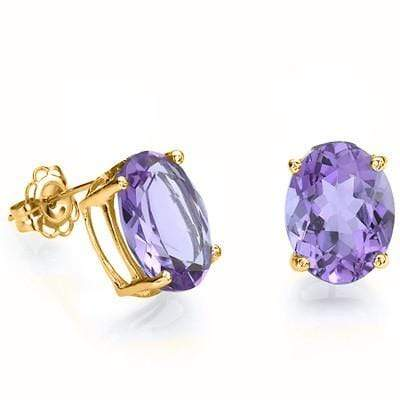 CHARMING 1.40 CT AMETHYST 10K SOLID YELLOW GOLD EARRINGS - Wholesalekings.com