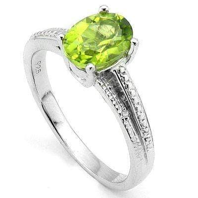 CHARMING 1.40 CT PERIDOT & 2 PCS WHITE DIAMOND PLATINUM OVER 0.925 STERLING SILVER RING - Wholesalekings.com