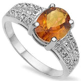 CHARMING 1.75 CT AZOTIC MYSTIC GEMSTONE & 2PCS GENUINE DIAMOND PLATINUM OVER 0.925 STERLING SILVER RING - Wholesalekings.com