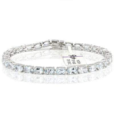 CHARMING 11.20 CT AQUAMARINE 0.925 STERLING SILVER W/ PLATINUM BRACELET (TOTAL WEIGHT 11.29g) - Wholesalekings.com