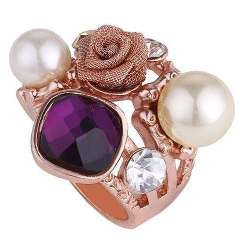 CHARMING ! 18K GOLD PLATED DESIGNER MAN-MAKE PEARL COCKTAIL RING wholesalekings wholesale silver jewelry
