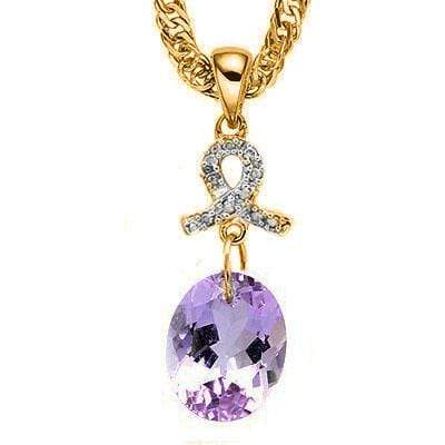CHARMING 2.25 CT AMETHYST & 10 PCS GENUINE DIAMOND 10K SOLID YELLOW GOLD PENDANT - Wholesalekings.com