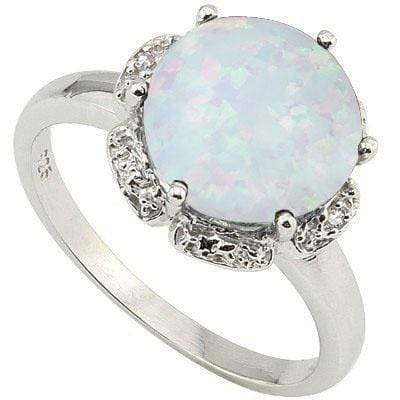 CHARMING 3.11 CARAT CREATED FIRE OPAL & GENUINE DIAMOND PLATINUM OVER 0.925 STERLING SILVER RING - Wholesalekings.com