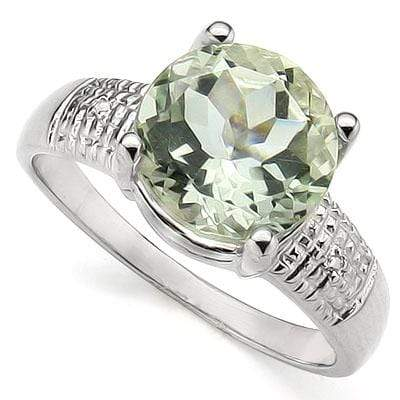 CHARMING 3.34 CT GREEN AMETHYST & 2PCS GENUINE DIAMOND PLATINUM OVER 0.925 STERLING SILVER RING - Wholesalekings.com