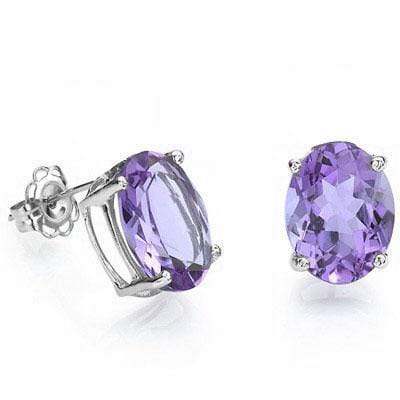 CHARMING 3.64 CT AMETHYST 10K SOLID WHITE GOLD EARRINGS - Wholesalekings.com