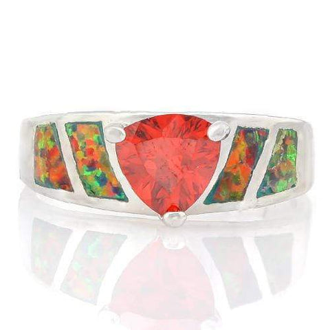 CHARMING ! 3 CARAT CREATED RED SAPPHIRE & 1 CARAT CREATED FIRE OPAL 925 STERLING SILVER RING - Wholesalekings.com