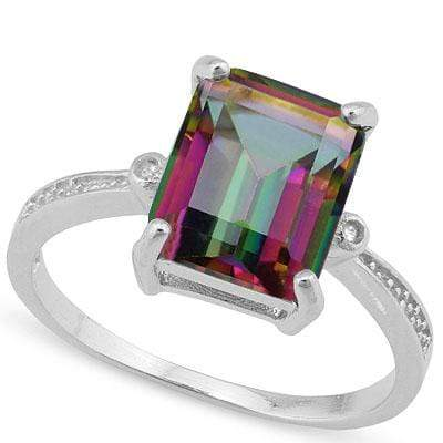 CHARMING ! 3 CARAT MYSTIC GEMSTONE & DIAMOND 925 STERLING SILVER RING - Wholesalekings.com