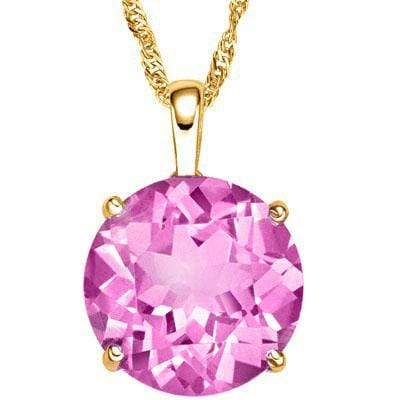 CHARMING 3 CARAT TW 10MM ROUND CREATED PINK SAPPHIRE 10K SOLID YELLOW GOLD PENDA - Wholesalekings.com