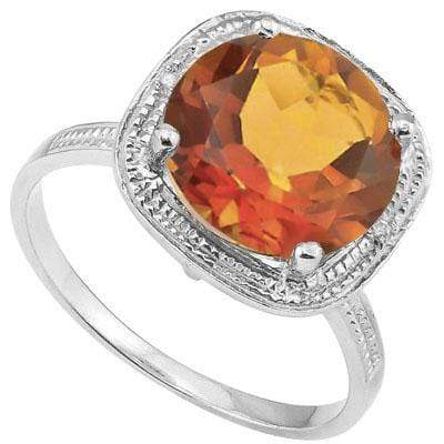 CHARMING 4.08 CT AZOTIC GEMSTONE & 2 PCS GENUINE DIAMOND PLATINUM OVER 0.925 STERLING SILVER RING - Wholesalekings.com