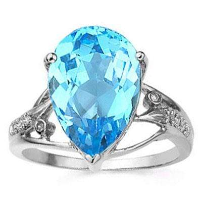 CHARMING 6.82 CARAT TW (9 PCS) BLUE TOPAZ & GENUINE DIAMOND 14K SOLID WHITE GOLD RING wholesalekings wholesale silver jewelry