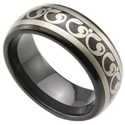 CHARMING CELTIC DESIGN BLACK TUNGSTEN CARBIDE RING wholesalekings wholesale silver jewelry