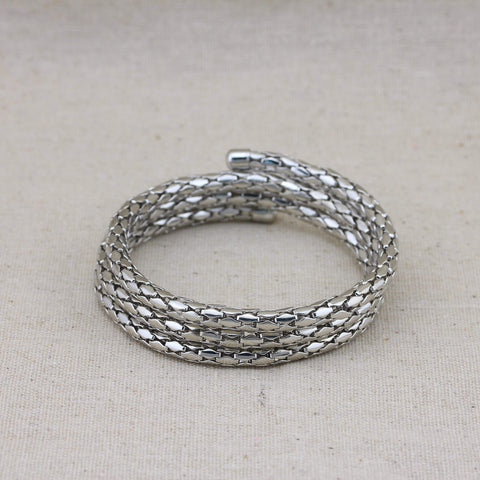 Chunky Silver Toned Snake Chain Layered Alloy Bracelet wholesalekings wholesale silver jewelry