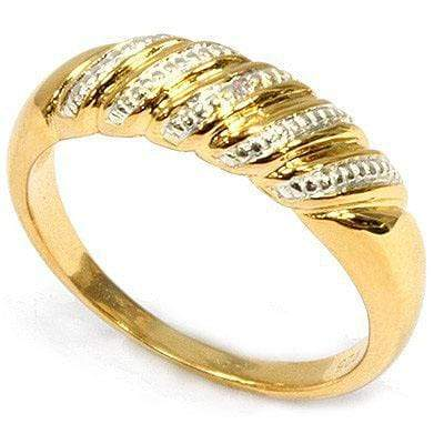 CLASSIC 0.01 CARAT TW GENUINE DIAMOND SET IN 24K GOLD PLATED SILVER RING - Wholesalekings.com
