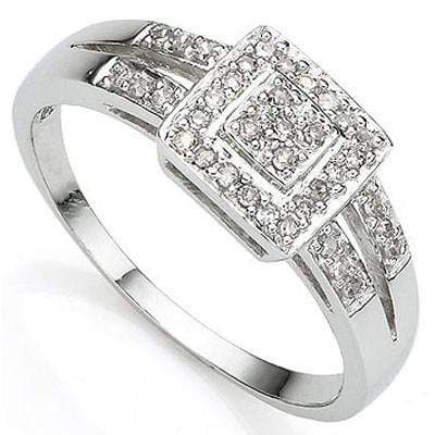 CLASSIC 0.03CT WHITE DIAMOND PLATINUM OVER 0.925 STERLING SILVER RING - Wholesalekings.com