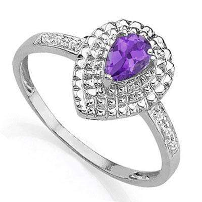 CLASSIC 0.35 CT AMETHYST & 6 PCS WHITE DIAMOND 0.925 STERLING SILVER W/ PLATINUM  RING - Wholesalekings.com