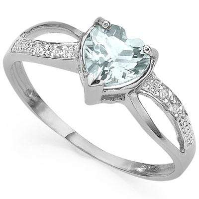 CLASSIC 0.56 CT AQUAMARINE & 2 PCS GENUINE DIAMOND 10K SOLID WHITE GOLD RING wholesalekings wholesale silver jewelry