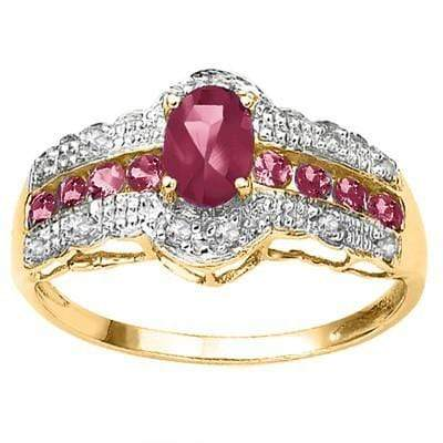 CLASSIC 0.92 CT GENUINE RUBY & 24 PCS WHITE DIAMOND  10K SOLID YELLOW GOLD RING - Wholesalekings.com