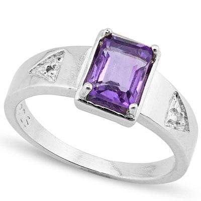 CLASSIC 0.96 CT AMETHYST & 2PCS GENUINE DIAMOND PLATINUM OVER 0.925 STERLING SILVER RING - Wholesalekings.com
