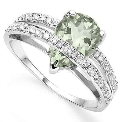 CLASSIC 1.71 CT GREEN AMETHYST & 20 PCS WHITE DIAMOND 10K SOLID WHITE GOLD RING - Wholesalekings.com