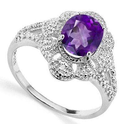 CLASSIC 1.76 CARAT TW (3 PCS) AMETHYST & GENUINE DIAMOND PLATINUM OVER 0.925 STERLING SILVER RING - Wholesalekings.com