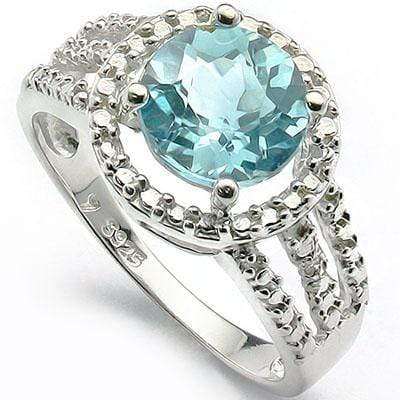 CLASSIC 2.304 CARAT TW  BLUE TOPAZ & GENUINE DIAMOND PLATINUM OVER 0.925 STERLING SILVER RING - Wholesalekings.com