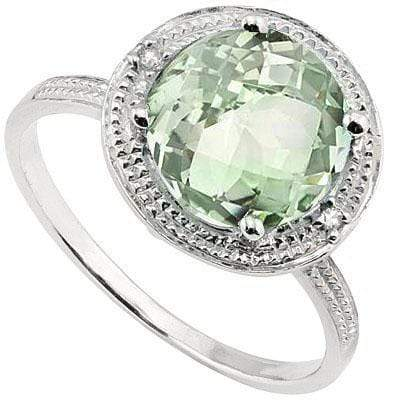 CLASSIC 2.506 CARAT TW  GREEN AMETHYST & GENUINE DIAMOND PLATINUM OVER 0.925 STERLING SILVER RING - Wholesalekings.com