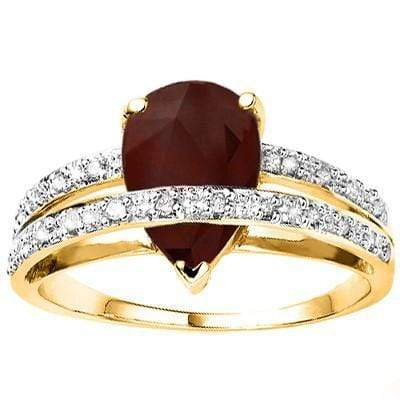 CLASSIC 2.51 CT GENUINE RUBY & 20 PCS GENUINE DIAMOND 10K SOLID YELLOW GOLD RING - Wholesalekings.com