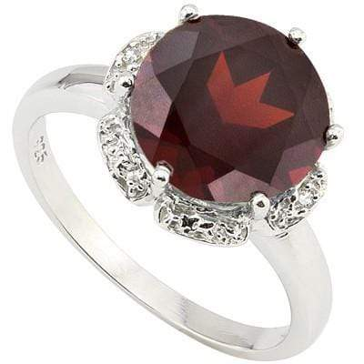 CLASSIC 3.89 CT GARNET & 2 PCS WHITE DIAMOND 0.925 STERLING SILVER W/ PLATINUM RING - Wholesalekings.com