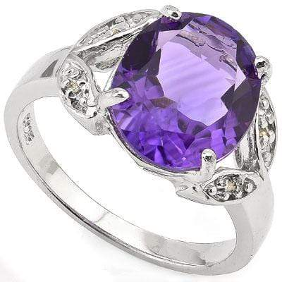 CLASSIC 4.05 CT AMETHYST & 4 PCS GENUINE DIAMOND PLATINUM OVER 0.925 STERLING SILVER RING - Wholesalekings.com
