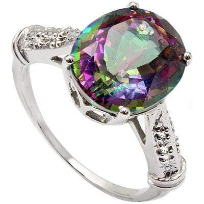 CLASSIC 4.58 CT MYSTIC GEMSTONE & 8 PCS WHITE DIAMOND 10K SOLID WHITE GOLD RING - Wholesalekings.com