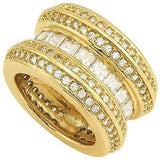 CLASSIC 5.40 CT CREATED WHITE SAPPHIRE & 160 PCS CREATED WHITE SAPPHIRE 18K YELLOW GOLD OVER STERLING SILVER RING wholesalekings wholesale silver jewelry
