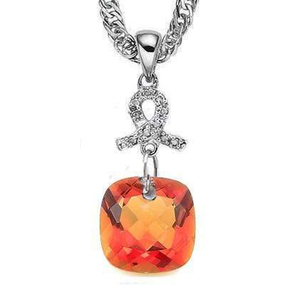 CLASSIC 6.29 CT AZOTIC GEMSTONE & 10PCS WHITE DIAMOND 10K SOLID WHITE GOLD PENDANT - Wholesalekings.com