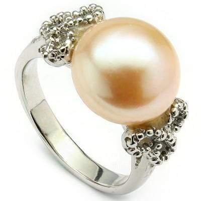 CLASSIC 8.67 CT WHITE PEARL & 2 PCS WHITE DIAMOND PLATINUM OVER 0.925 STERLING SILVER RING - Wholesalekings.com