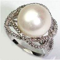 CLASSIC 9.98 CT WHITE PEARL & 2 PCS WHITE DIAMOND 0.925 STERLING SILVER W/ PLATINUM RING - Wholesalekings.com