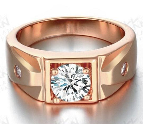 CLASSIC HIGH POLISHED ROSE GOLD  PLATED BRASS WITH CREATED DIAMOND RING - Wholesalekings.com