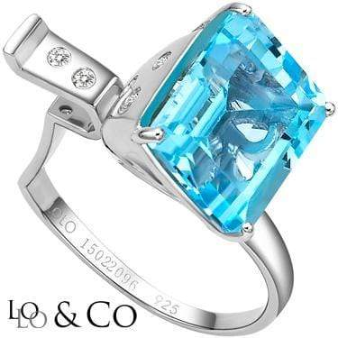 CLASSIC LOLO & CO  6.89 CARAT TW (6 PCS) BLUE TOPAZ MIST & GENUINE DIAMOND PLATINUM OVER 0.925 STERLING SILVER RING - Wholesalekings.com