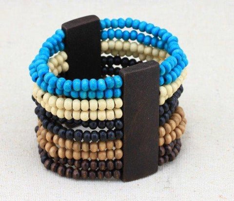 Classic Multi Colour and Layered Wood Bead Bohimia Bracelet wholesalekings wholesale silver jewelry