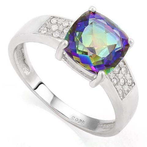 CLASSIC  OCEAN MYSTIC GEMSTONES &  1/4 CARAT (34 PCS) CREATED WHITE SAPPHIRES 925 STERLING SILVER RING - Wholesalekings.com