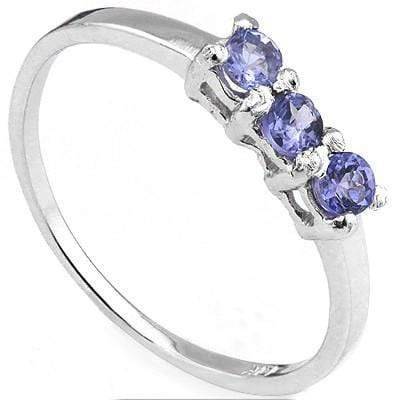 CLASSY 0.33 CT GENUINE TANZANITE 10K SOLID WHITE GOLD RING - Wholesalekings.com