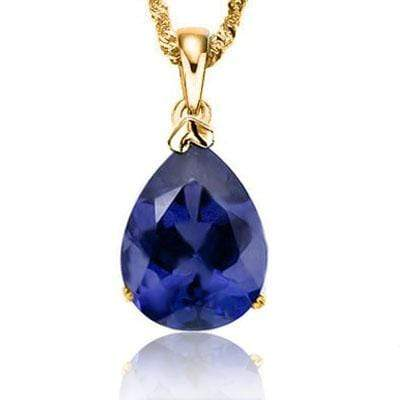 CLASSY 0.5 CARAT TW (1 PCS) LAB TANZANITE 10K SOLID YELLOW GOLD PENDANT wholesalekings wholesale silver jewelry