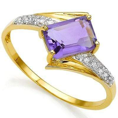 CLASSY 1.00 CT AMETHYST & 10 PCS WHITE DIAMOND 24K GOLD PLATED RING wholesalekings wholesale silver jewelry
