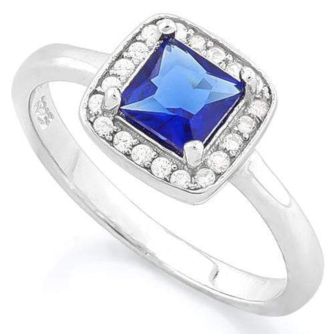 CLASSY !1 1/2 CARAT CREATED BLUE SAPPHIRE & 1/5 CARAT (20 PCS) FLAWLESS CREATED DIAMOND 925 STERLING SILVER HOLO RING - Wholesalekings.com