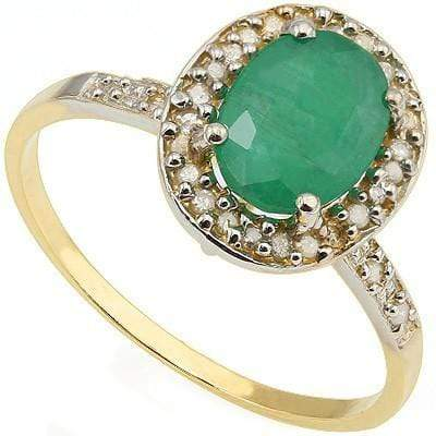 CLASSY 1.23 CT GENUINE EMERALD & 28 PCS WHITE DIAMOND 10K SOLID YELLOW GOLD RING wholesalekings wholesale silver jewelry