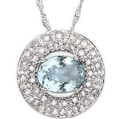 CLASSY 1.36 CARAT TW (36 PCS) AQUAMARINE & GENUINE DIAMOND 14K SOLID WHITE GOLD - Wholesalekings.com