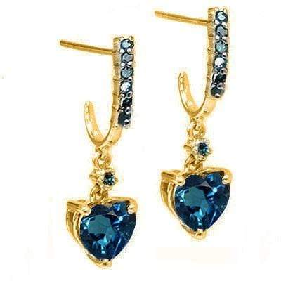 CLASSY 1.82 CT LONDON BLUE TOPAZ & 14 PCS BLUE DIAMOND 10K SOLID YELLOW GOLD EARRINGS wholesalekings wholesale silver jewelry