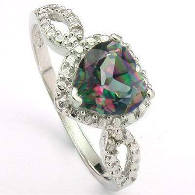 CLASSY 1.9 CT MYSTIC GEMSTONE & 2 PCS GENUINE DIAMOND PLATINUM OVER 0.925 STERLING SILVER RING - Wholesalekings.com