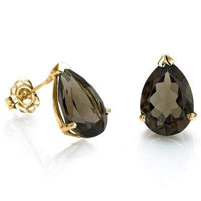 CLASSY 1 CARAT TW (2 PCS) SMOKEY TOPAZ 10K SOLID YELLOW GOLD EARRINGS - Wholesalekings.com
