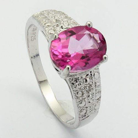 CLASSY 2.40 CT PINK TOPAZ & 2 PCS WHITE DIAMOND PLATINUM OVER 0.925 STERLING SILVER RING - Wholesalekings.com