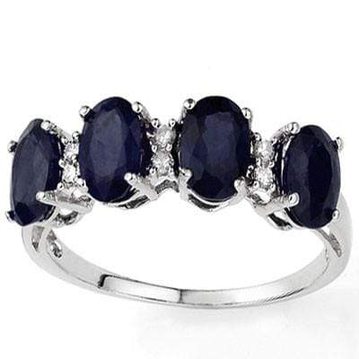 CLASSY 2.51 CARAT  GENUINE BLACK SAPPHIRE & GENUINE DIAMOND PLATINUM OVER 0.925 STERLING SILVER RING - Wholesalekings.com